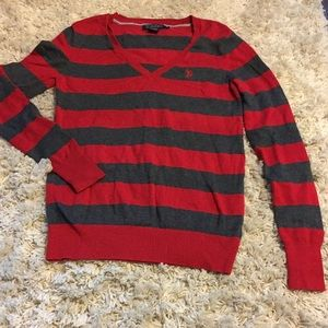US Polo ASSN. Red & Grey Sweater